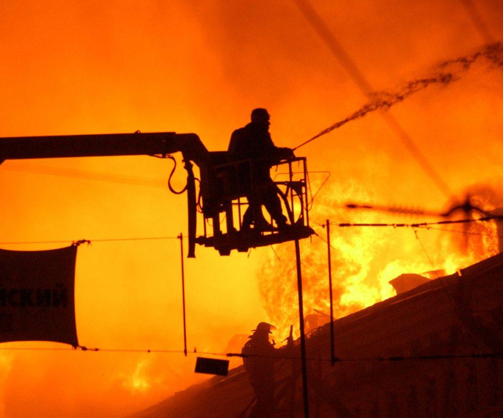 Fireman near overhead lines